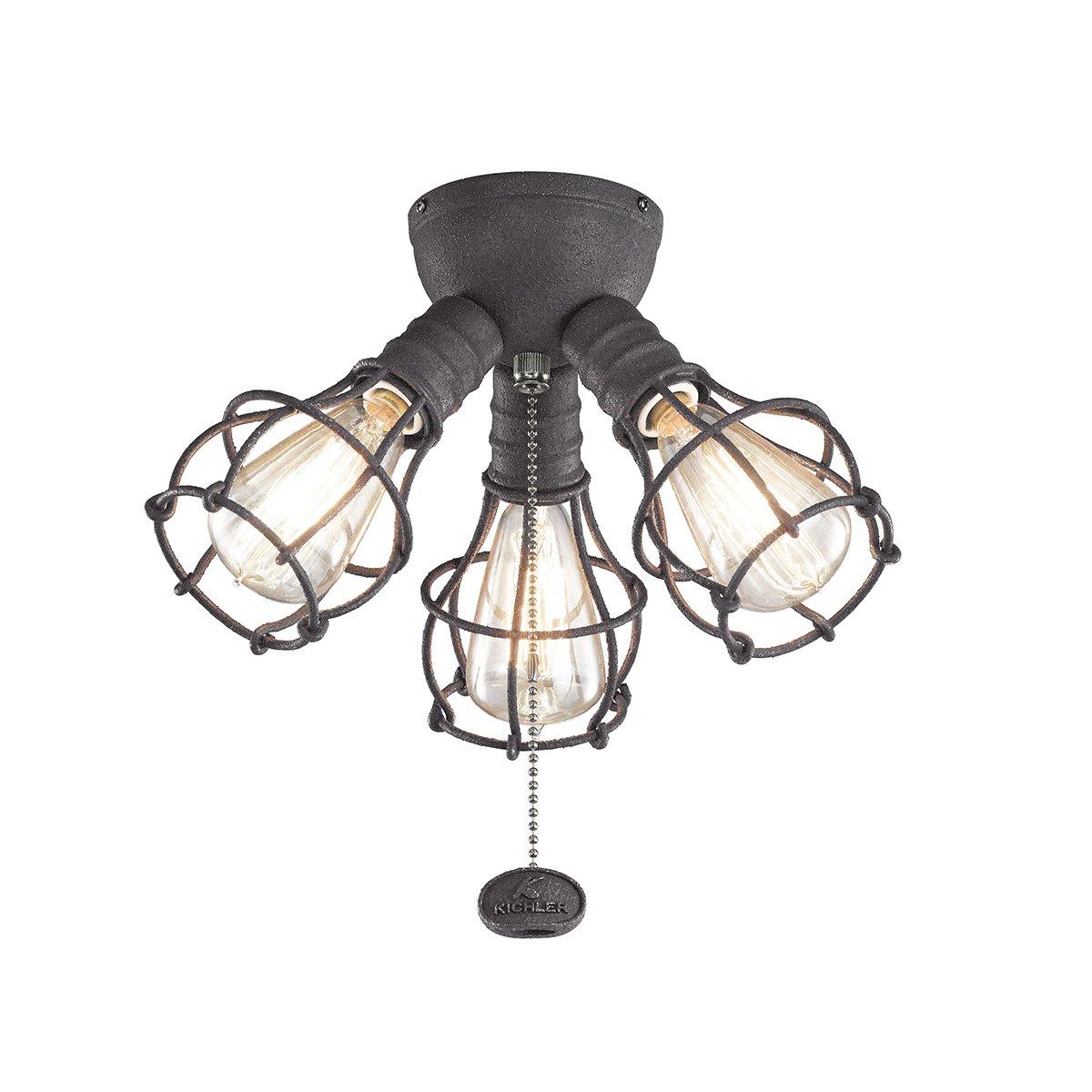 kichler 370041dbk three light fan light kit amazon com