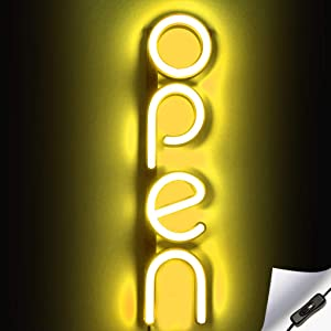 Vertical LED Neon Open Sign for Business - Bright LED Open Sign with ON & Off Switch - Lightweight & Energy Efficient - Yellow