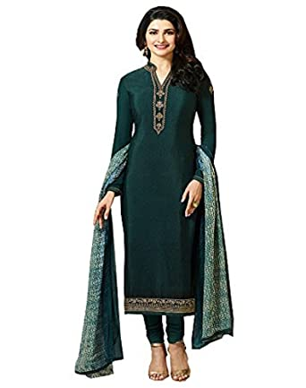 3ad7a763266 Amazon.com  Laxminarayan Green Royal Crepe Embroidered Indian Pakistani  Churidar Salwar Suit  Clothing