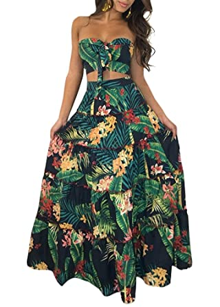 cf7231a1e4d2 Romacci Women Two Piece Set Dress Crop Top Skirt Floral Print Bandeau  Strapless Sleeveless Ruffle Tied