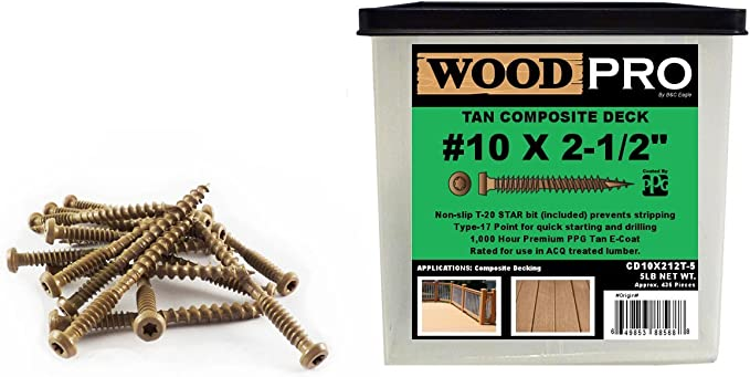 500-Piece WoodPro Fasteners AP9X212-5 T25 5-Pound Net Weight 9 by 2-1//2-Inch All Purpose Wood Construction Screws