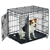 "Caja para perros pequeños | MidWest Life Stages - Cajón plegable para perros, con doble puerta, de 24 ""| Panel divisor, Pies que protegen el piso, Bandeja para perros a prueba de fugas | 24 L x 18 An. X 21 Alt., Casta de perro pequeño"