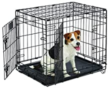 "Small Dog Crate | MidWest Life Stages 24"" Double Door Folding Metal Dog Crate 