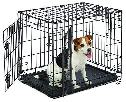 Small Dog Crate | MidWest Life Stages 24' Double Door Folding Metal Dog Crate | Divider Panel, Floor Protecting Feet, Leak-Proof Dog Tray | 24L x 18W x 21H Inches, Small Dog Breed