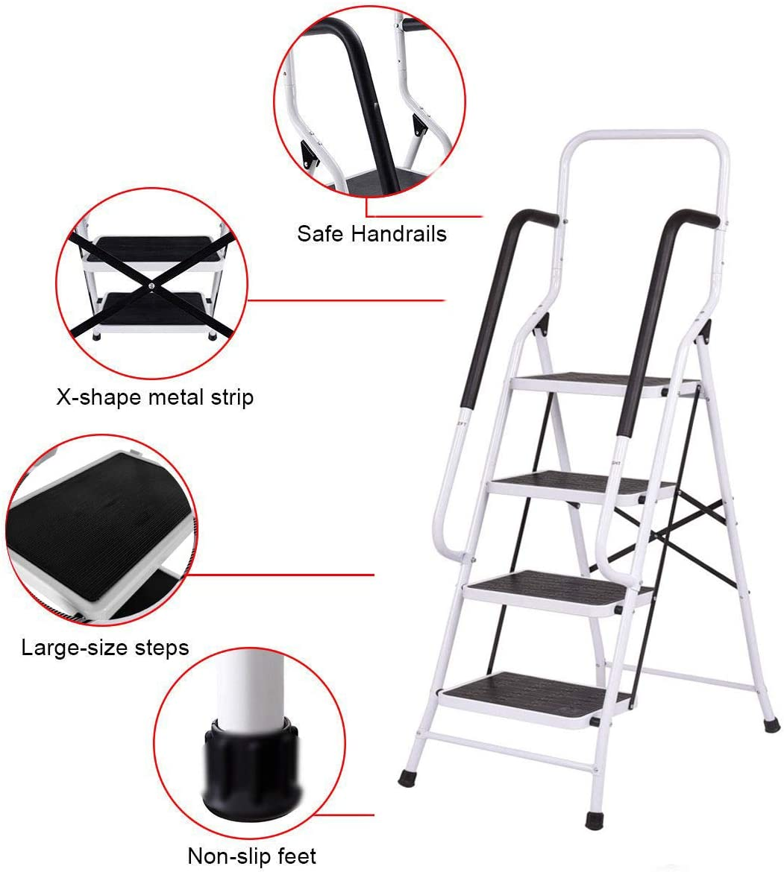 4 Steps Ladder with Safety Handrail Anti-Slip Rubber Mat Tread Folding Step Heavy Duty