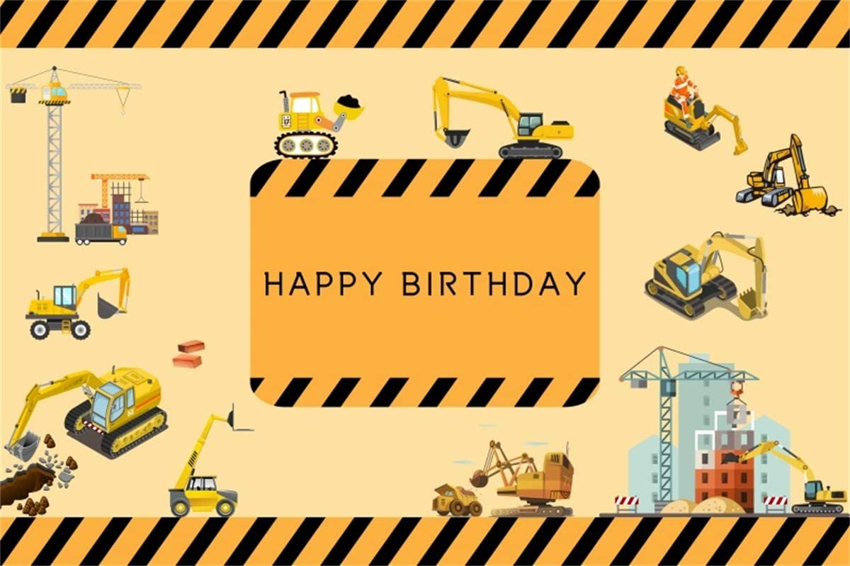 YEELE Construction Site Backdrop 7x5ft Tractor Backhoe Loader Crawler Excavator Photography Background Boys Birthday Party Decoration Kids Son Artistic Portrait Photobooth Props Digital Wallpaper