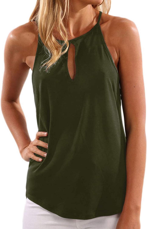 YOINS Mujeres Camisetas sin Mangas Camisas Elegante Blusa Casual Chaleco de Verano Playa Camiseta para Mujere Cuello V Top Verde S/EU36-38