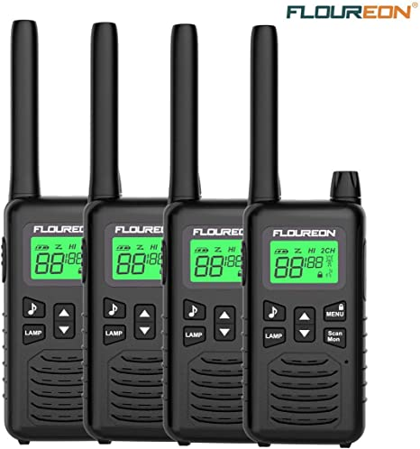 2X FLOUREON 22CH Walkie Talkies FRS//GMRS 462-467MHZ Two Way Radio 5KM Long Range