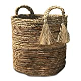 Whole House Worlds The Boho Beach House Tassel Basket, Relaxed Coastal Style, Woven Banana Leaf and Sisal, Barrel Shape, Braided Top Handles, By