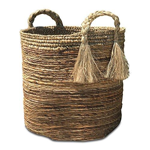 he Boho Beach House Tassel Basket, Relaxed Coastal Style, Woven Banana Leaf and Sisal, Barrel Shape, Braided Top Handles, By (Woven Banana Leaf)