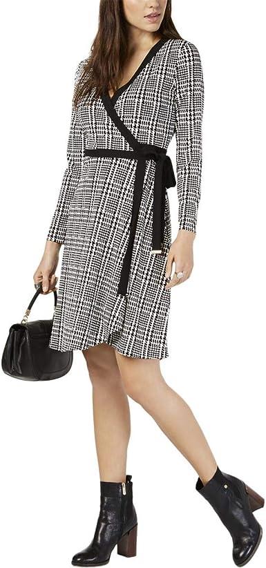 NEW Next Black /& White Dogtooth Long Sleeve Jersey Dress Size 10-20 Scoop Neck