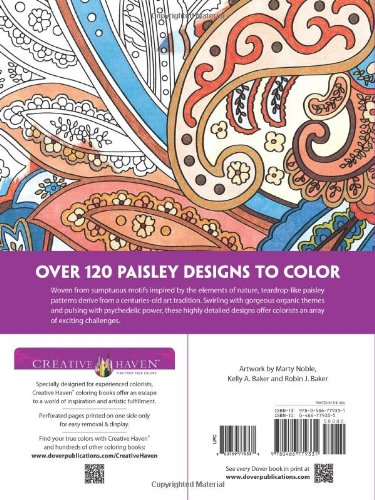 Dover Publications Book Creative Haven Paisley Pattern Coloring Books Marty Noble Kelly A Baker Robin J 0800759779338