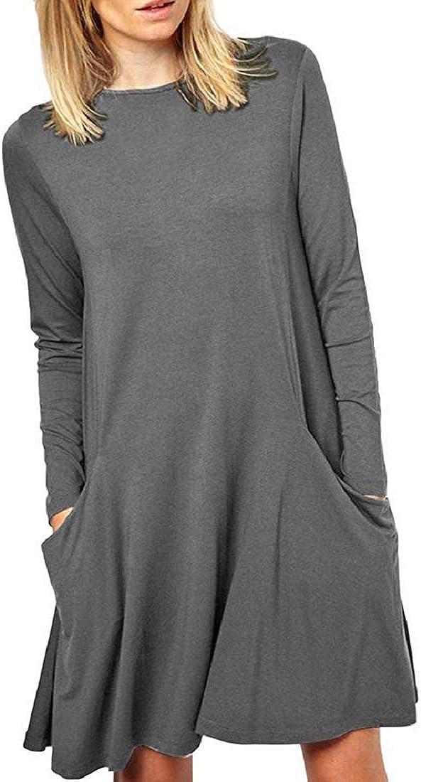 Bkolouuoe Womens Long Sleeve Plain Flowy T-Shirt Tunic Loose Dress Casual Round Neck Pockets Swing Dresses