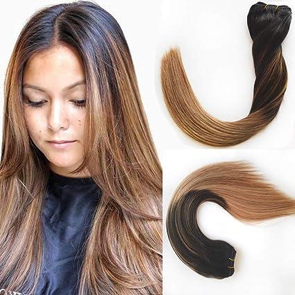 Extensiones de cabello humano Remi de 14 a 24 pulgadas, color marrón medio a rubio ceniza #4 a #18, sedoso recto