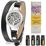 Aromatherapy Essential Oil Leather Diffuser Bracelet w/ Tea Tree, Lemongrass, Orange and Peppermint -10ML/pcs, Unique Gift Id