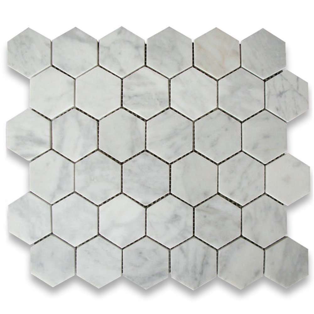Carrara White Italian Carrera Marble Hexagon Mosaic Tile 2 inch Honed. Marble Tiles   Amazon com   Kitchen   Bath Fixtures   Stone Tiles
