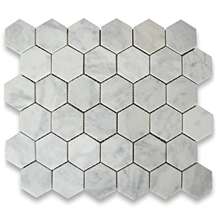 Carrara White Italian Carrera Marble Hexagon Mosaic Tile Inch - 2 carrara marble hexagon floors