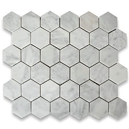 Honed Carrara White Marble 2 Inch Hexagon Mosaic Tile