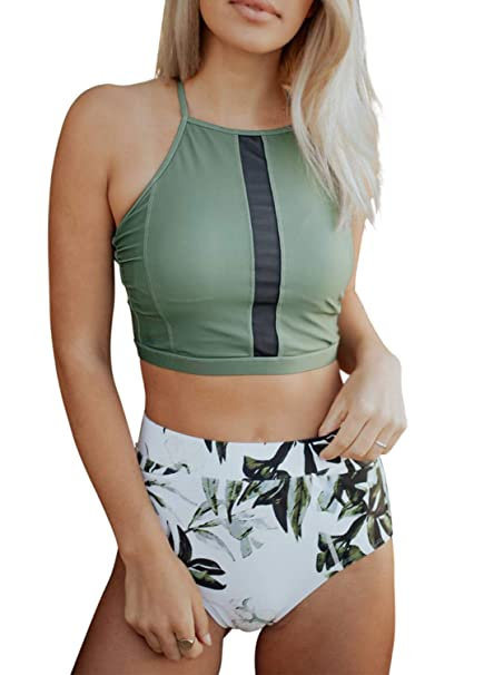 cf3a9ac7e339e Amazon.com: HOTAPEI Women Two Piece High Neck Forest Leaves Printing Crop Top  High Waisted Bikini Set Swimsuit: Clothing
