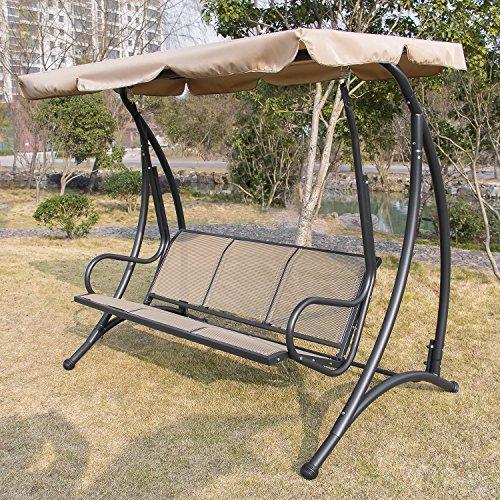 Bestmart Inc Outdoor 3 Person Canopy Swing Glider Hammock
