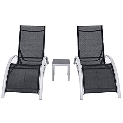 Amazon Com Giantex 3 Piece Chaise Lounge Set W 1 Small Table 2