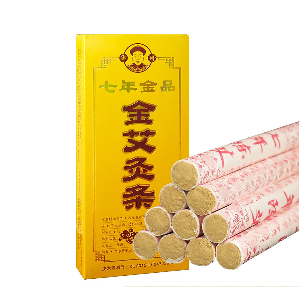 7 Years Chen Moxa Sticks, 40:1 Pure Golden Moxa Rolls High Quality for Moxibustion Treatment Therapy Chinese Acupuncture-10 pics by QianYiDa