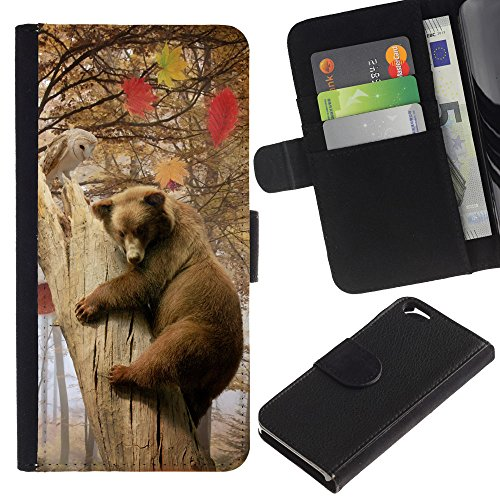 EuroCase - Apple Iphone 6 4.7 - Bear & Owl Forrest Friends - Cuir PU Coverture Shell Armure Coque Coq Cas Etui Housse Case Cover