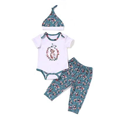 Efaster Toddler Infant Baby Boys Girls Cartoon Print Romper Pants Hat 3PCS Sets