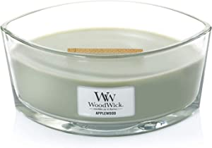 WoodWick Everyday Applewood Ellipse Hearth Wick Candle, Green