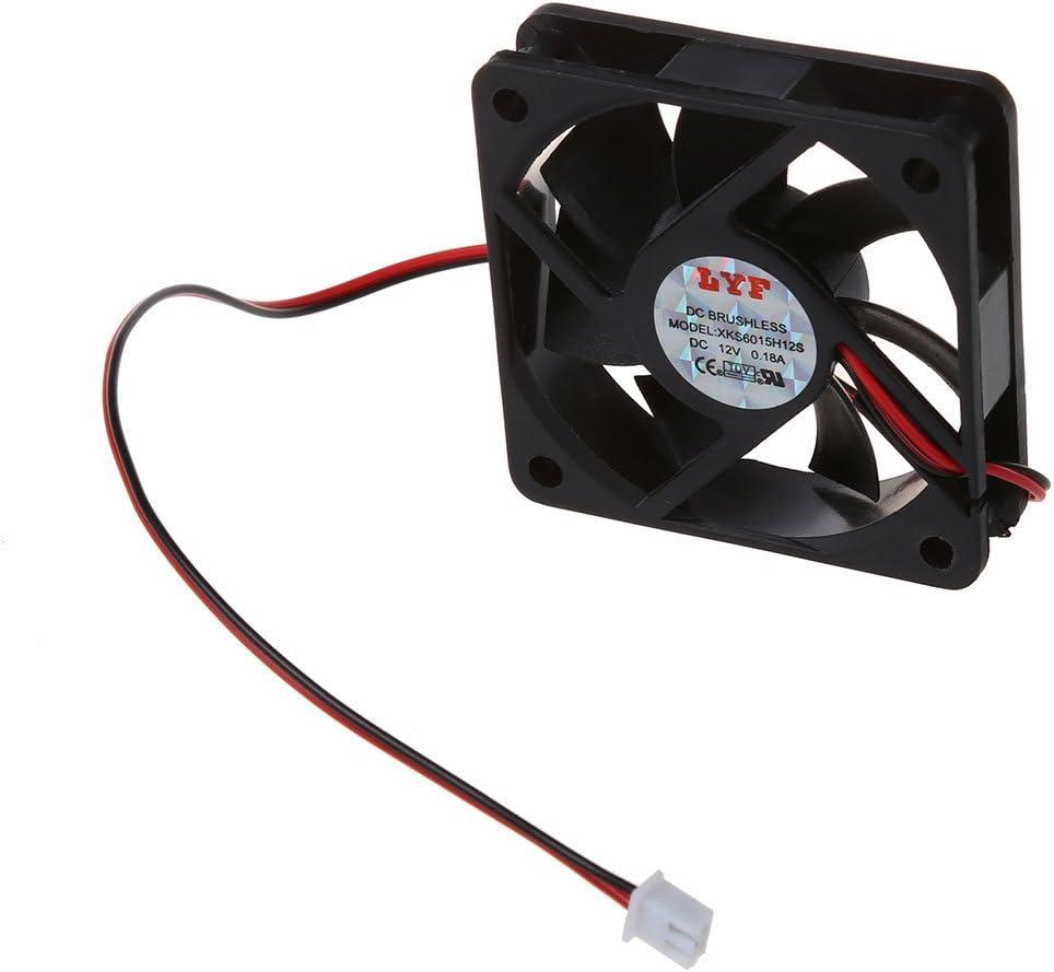 SODIAL(R)DC 12V Ventilador de enfriamiento de 2 pines 60mm x 15mm para caja computadora PC Enfriador de CPU