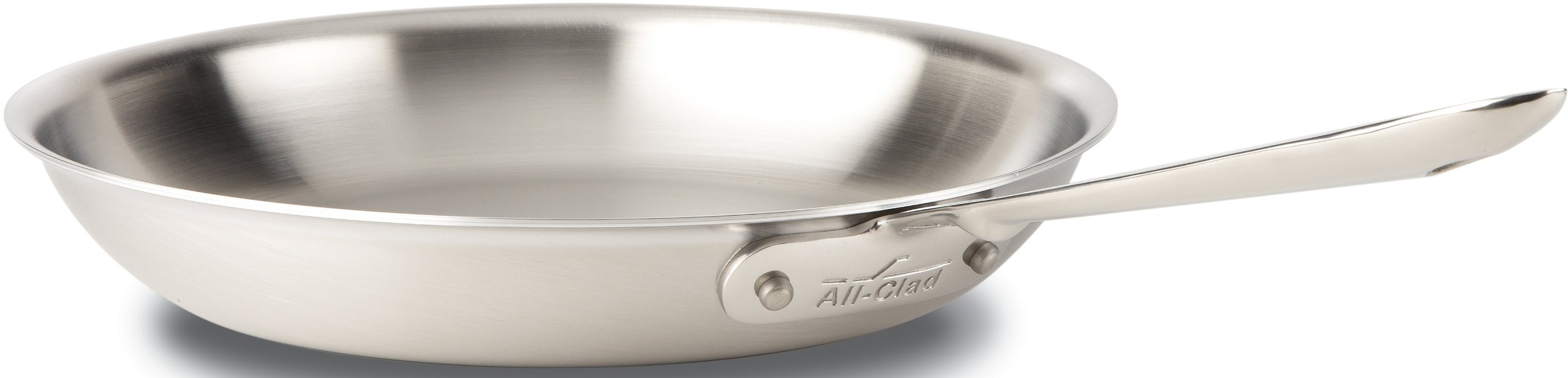 All-Clad BD55112 D5 Brushed 18/10 Stainless Steel 5-Ply Bonded Dishwasher Safe Fry Pan Saute Pan Cookware, 12-Inch, Silver