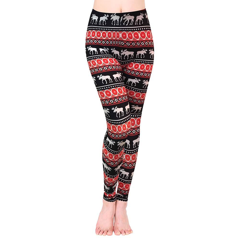 Black White Red Reindeer Ensasa Womens Autumn Winter Snowflake Graphic Printed Stretchy Leggings Pants