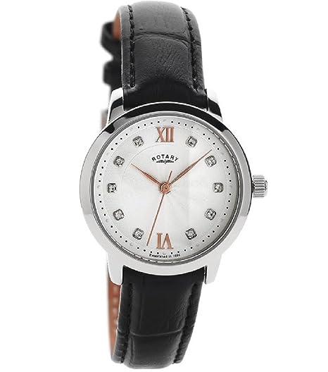 Rotary LS42825/21 - Reloj analógico para mujer con esfera de cristal blanco, detalles en oro rosa y correa de piel negra: Amazon.es: Relojes