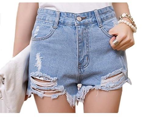 857dff12b407 Qingsun Damen Denim Jeans Shorts Loch Kurz Jeans Hot Pants Hochbund  Jeansshorts unregelmäßigen Katzen Denim Shorts