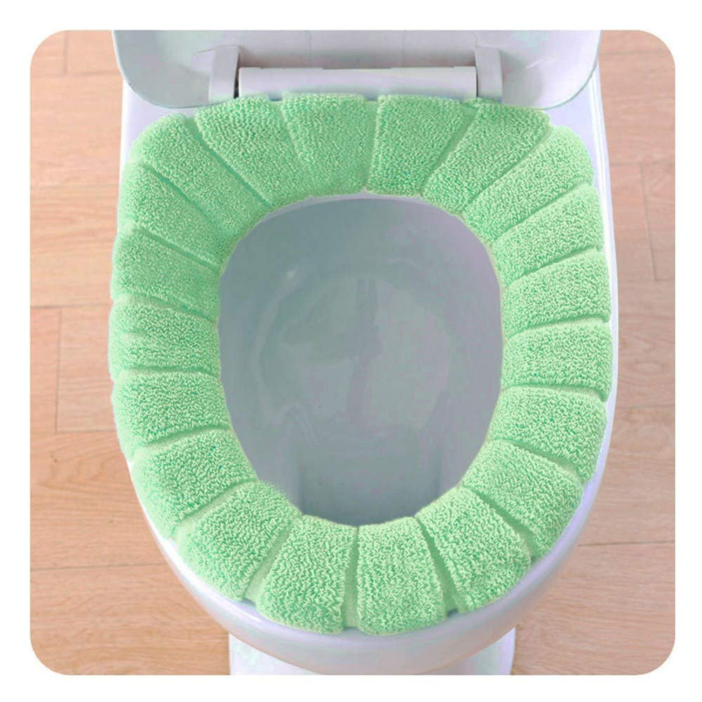 Blue callm Comfortable Cushioned Velvet Coral Toilet Seat Cover Pads Standard Pumpkin Pattern Cushion Bathroom Soft Stretchable Washable Covers