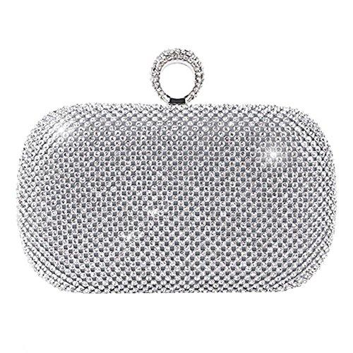 Wgwioo Bag cristal oro plata negro diamante incrustado bolsa de noche embrague boda bolso fiesta caja. (16.5 x 13cm) silver one size silver