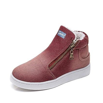 Botas de mujer, letra de moda Zapatos de mezclilla impresos Hebilla con cremallera informal Zapatos