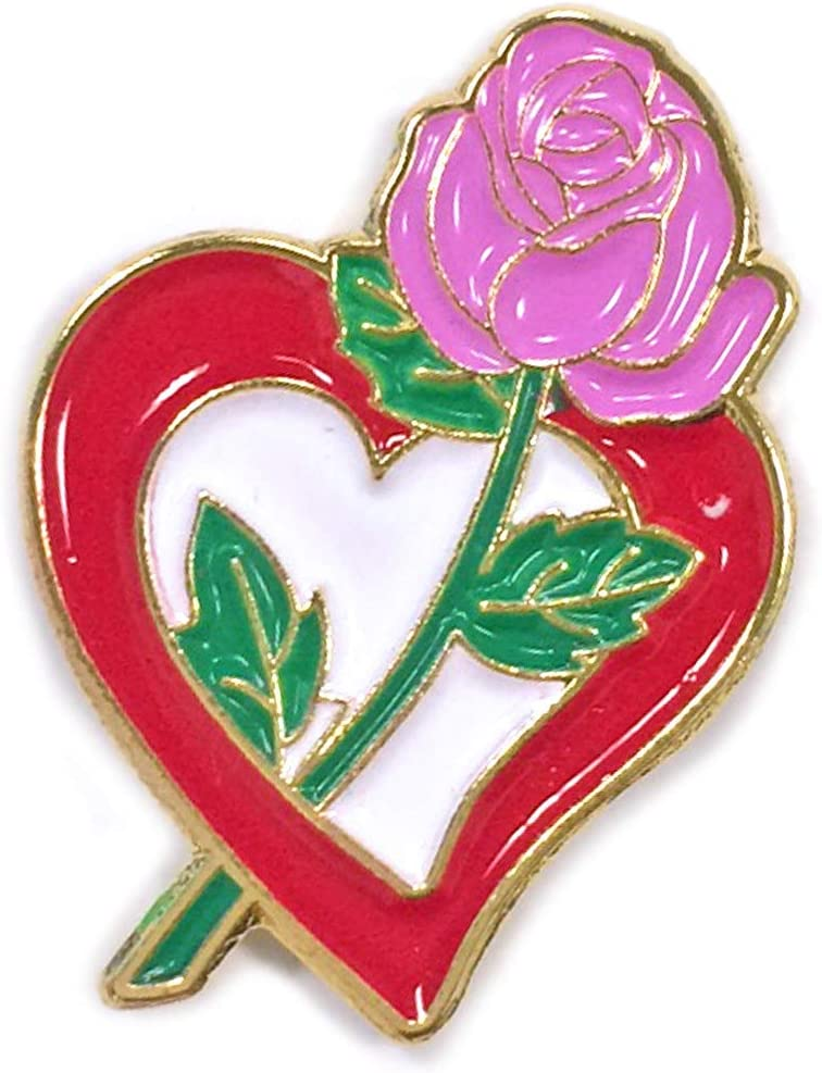 1 Popular brand in the world X 3 4 Inch Die Struck Brass La Cheap super special price with Rose Red Heart Plated Pink