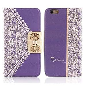 Culater® Funda para móvil iPhone 6 Plus Boga TiróN De La Carpeta Cubierta De Cuero Linda Fresca Púrpura