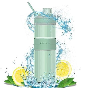 Zeewoo Botella de Agua Deporte Reutilizable sin BPA Plastico Gimnasio 500ml Botella Agua Prueba de Fugas Water Bottles