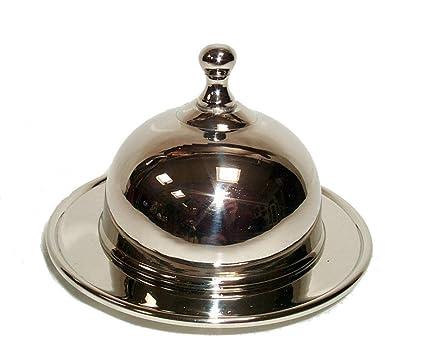 Decorativa Ronda lata de Caviar con ventana de vidrio plateado, mantequera