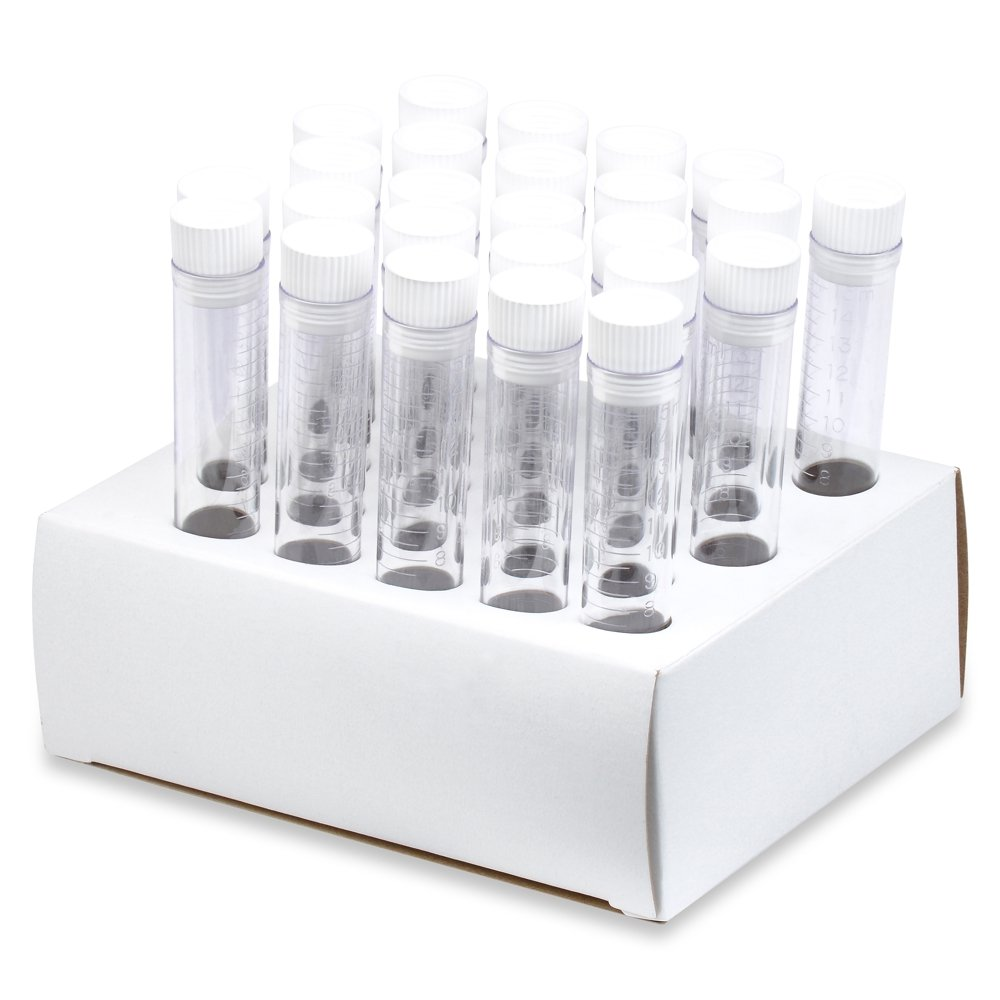 17x100mm Polypropylene Test Tubes, Hollow Top Caps, Cardboard Rack - Pack of 25, Karter Scientific 50A8