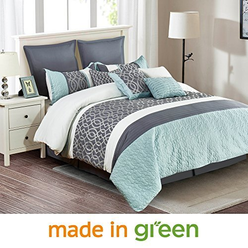 "Wonder-Home 10 Piece Quilted Comforter Set with Matelassé & Embroidery, Embellished Luxury Oversized Bedding Set, Color Block Pattern, Queen, 92""x96"""