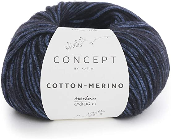 Katia Merino de Cotton FB. 57 – azulina/Negro, 50 g Lana Hilo de ...
