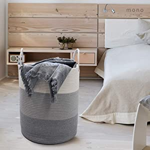 "mono living Large Cotton Rope Basket Hamper Wide 15""x18"" Woven Baby Laundry Hamper Basket Woven Blanket Basket Nursery Bin for Blankets Toys Storage Basket with Handle Comforter Cushions Storage"