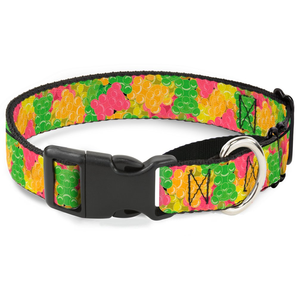 Buckle-Down Gummy Bears Stacked Multi color Martingale Dog Collar, 1  Wide-Fits 9-15  Neck-Small