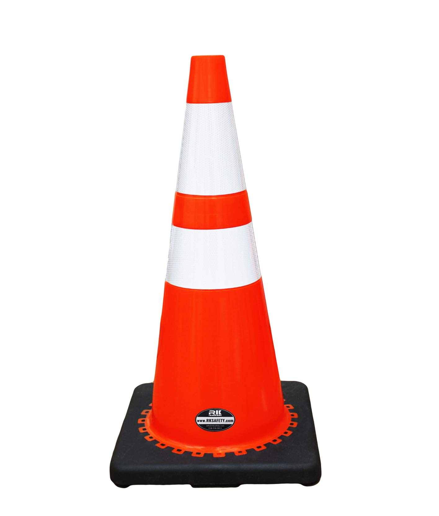 (Set of 24) RK 28'' Orange Safety Traffic PVC Cones with 6'' + 4'' Reflective Collars,Black Base