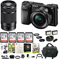 Sony Alpha a6000 Mirrorless Camera w/16-50mm & 55-210mm Lens & Four 32GB SD Cards