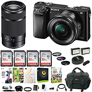 61uKoGZ3Y1L. SS300  - Sony Alpha a6000 Mirrorless Camera w/ 16-50mm & 55-210mm Lens & Four 32GB SD Card Bundle