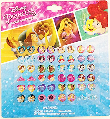 Disney Princess 24 Pairs sticker earrings with heart shaped and crown shaped design -